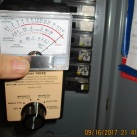 on ceiling at ventilation duct readings as high as at fuse box