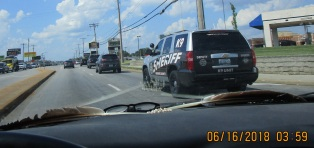 at corner of Battlefield and Campbell noticed K9 sheriff behind me from Library Center in Springfield, MO slowed to take photo