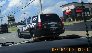 Continuing K9 sheriff following me all the way home from Library Center Springfield, MO