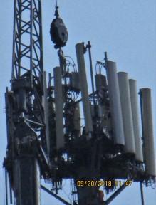 man on microwave tower