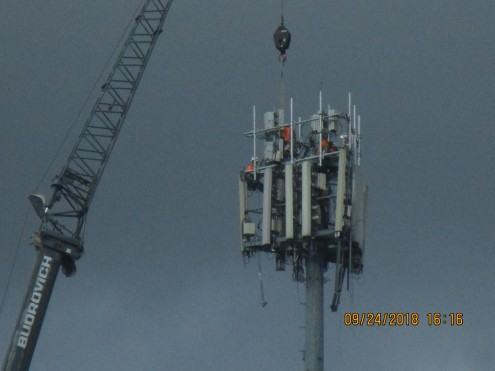 yesterday's work on tower across from library